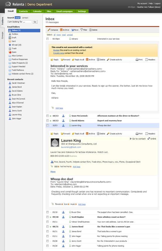Relenta CRM - Message Inbox