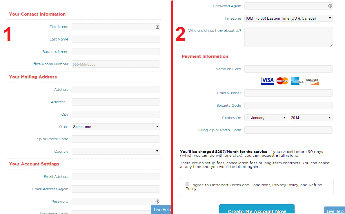 Ontraport Signup Form 1