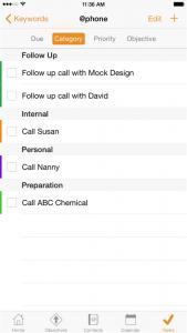 Daylite Tasks menu on an iPhone 6 plus