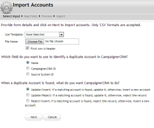 Campaigner CRM Import Accounts