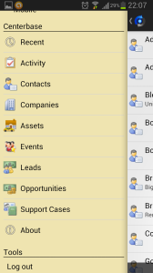 Centerbase Android Menue Showing Available Item Types