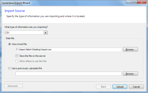 Centerbase Contact Import Upload CSV