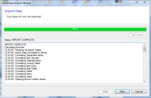 Centerbase Data Import Complete