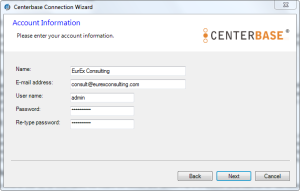 Centerbase Initial User Account Setup this will be an Admin Account