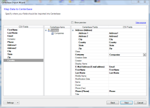 Centerbase Set Mapping between CSV and Centerbase Fields
