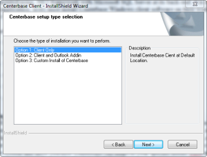 Centerbase Client Installation Setup Type Selection