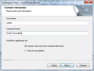 Centerbase Client Installation User Access Details