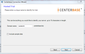 Centerbase Configure Hosted Trial Set Name for your Server