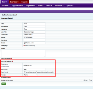 Intrabench CRM - Give access to contact