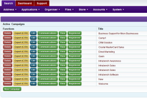 Intrabench CRM - List of campaigns created in the system