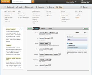 NutshellCRM - Import Step 2 - Data mapping