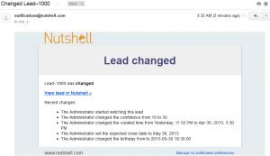 NutshellCRM - Lead change notification email