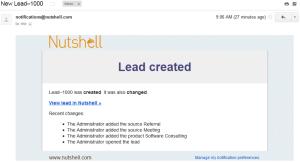 NutshellCRM - Lead creation notification email