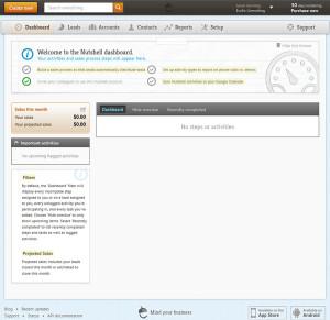 Nutshell CRM - Dashboard screen after login