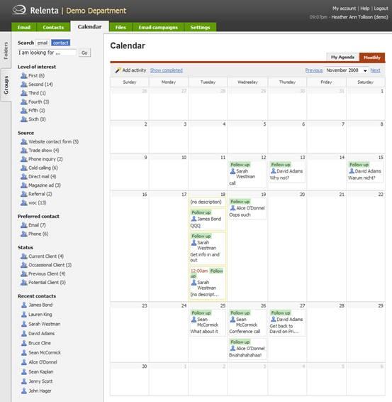 Relenta CRM - Calendar of monthly activities