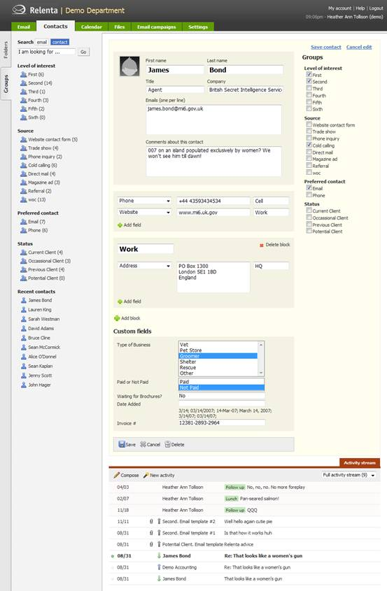 Relenta CRM - Managing Leads and Contacts