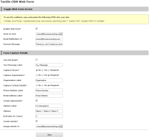 Tactile crm - Sample web form configuration showing opportunity and activity will be created too