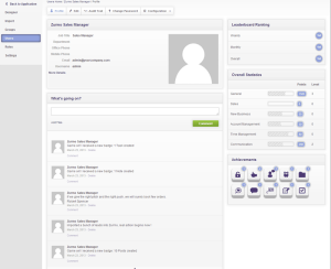 Zurmo CRM User Profile Showing Badges