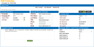 Leadmaster CRM Campaign showing relevant Fields