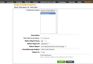 Leadmaster CRM Report Subscription Configuration