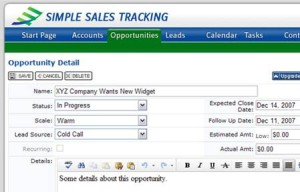 Simple Sales Tracking Opportunities