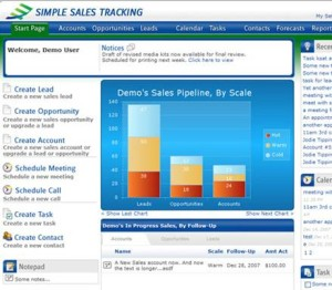 Simple Sales Tracking Start Page