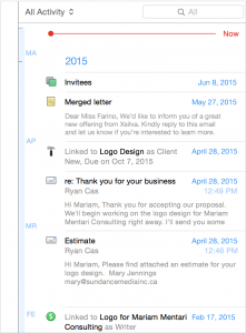 The powerful linking feature makes the workspace of Daylite